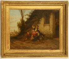 HENDRICK JOSEPH DILLENS 1812-1872. 'The New Arrival'. Oil on panel exterior cottage scene with children restraining an eager dog. Signed lower right. On a good artists mahogany panel, with suppliers stamp, 45cm x 57cm. In a good giltwood frame. A near identical version of this work was sold at Christies, March 2006. Dillens studied under Maes Casim, and exhibited widely in London, Paris and Belgium.