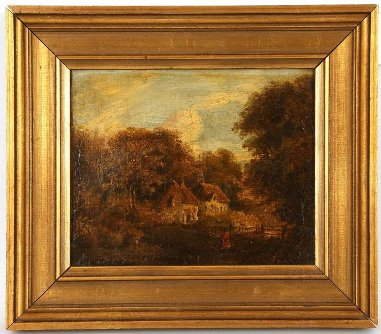 EARLY 19TH CENTURY, POSSIBLY NORWICH SCHOOL. 'Forested Hamlet'. Oil on canvas rural landscape on a good stretcher. In a later frame, 19cm x 23cm,