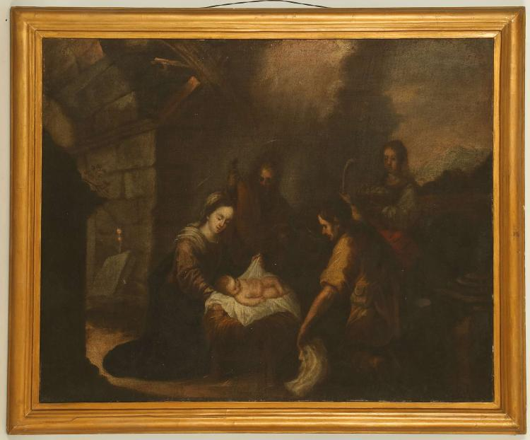 17TH CENTURY, POSSIBLY FRENCH SCHOOL. 'The Nativity'. Oil on canvas depiction of Mary, Christ and the three wise men, in an exterior stable setting. On original stretcher, in a later giltwood frame, 58cm x 72cm.