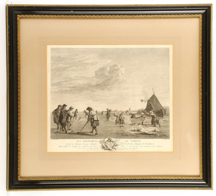 AFTER ADRIEN VAN DE VELDE 1636-1692. 'Les Amusemens de L'Hiver'. Engraving depicting ice hockey players on a frozen body of water with views to windmills. Mounted and framed, 32.5cm x 37.5cm, together with: 'Rendez-vous de Chase', engraving after Charles Van Falens 1683-1733, mounted and framed, 38cm x 48cm (2).