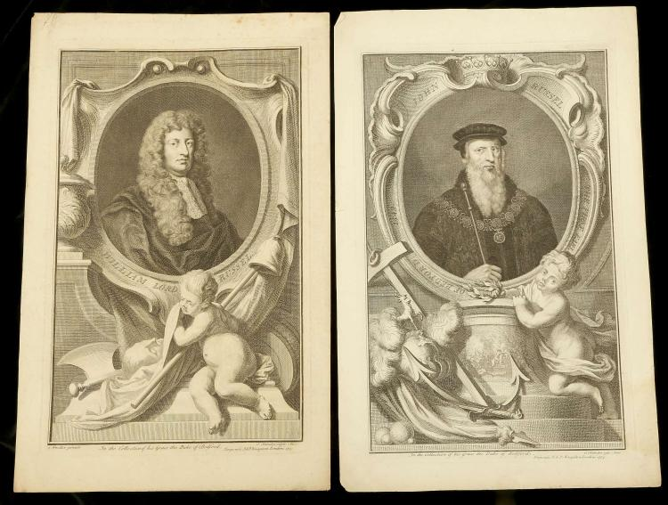 JACOBUS HOUBRAKEN 1698-1780. A selection of portrait engravings, titles include: William Lord Russel after Kneller, Earl of Bedford, Sir Nicholas Bacon after Zuchero, Earl of Bedford after Van Dyke, John Russell, William Lord Russel after Kneller. Unmounted. 38.5cm x 24cm (7).