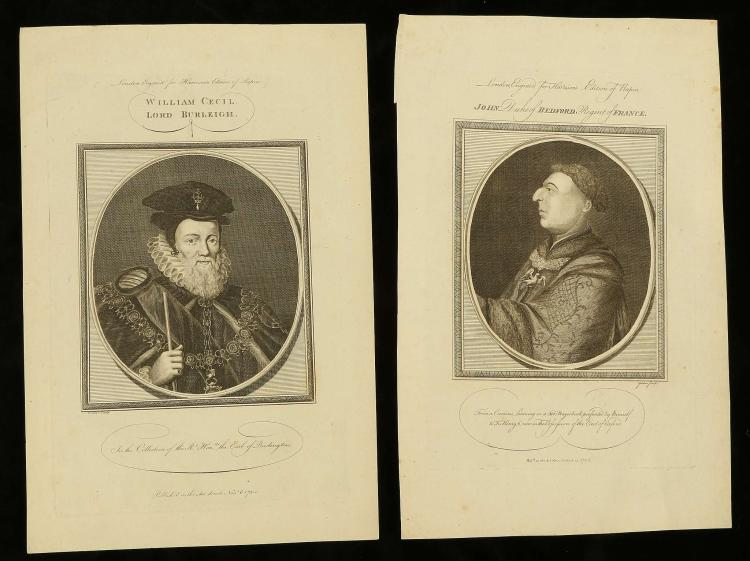 A SELECTION OF FOUR PORTRAIT ENGRAVINGS FOR 'HARRISON'S EDITION OF RAPIN'. Titles: John Duke of Bedford, Regent of France', 'William Cecil, Lord Burleigh', 'Francis Russel, Earl of Oxford', 30cm x 21cm (4).