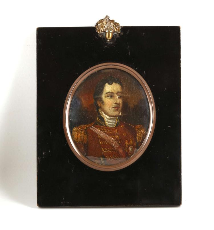 An oil on copper portrait miniature, circa 1815, of Field Marshal Arthur Wellesley, 1st Duke of Wellington 1769-1852. Wellington depicted in a scarlet tunic with gold epaulets and garter star, 8.5 x 7.5cm in the oval with concave glass and ebonised wood mount. After the famous full length portrait by Robert Home 1752-1834.