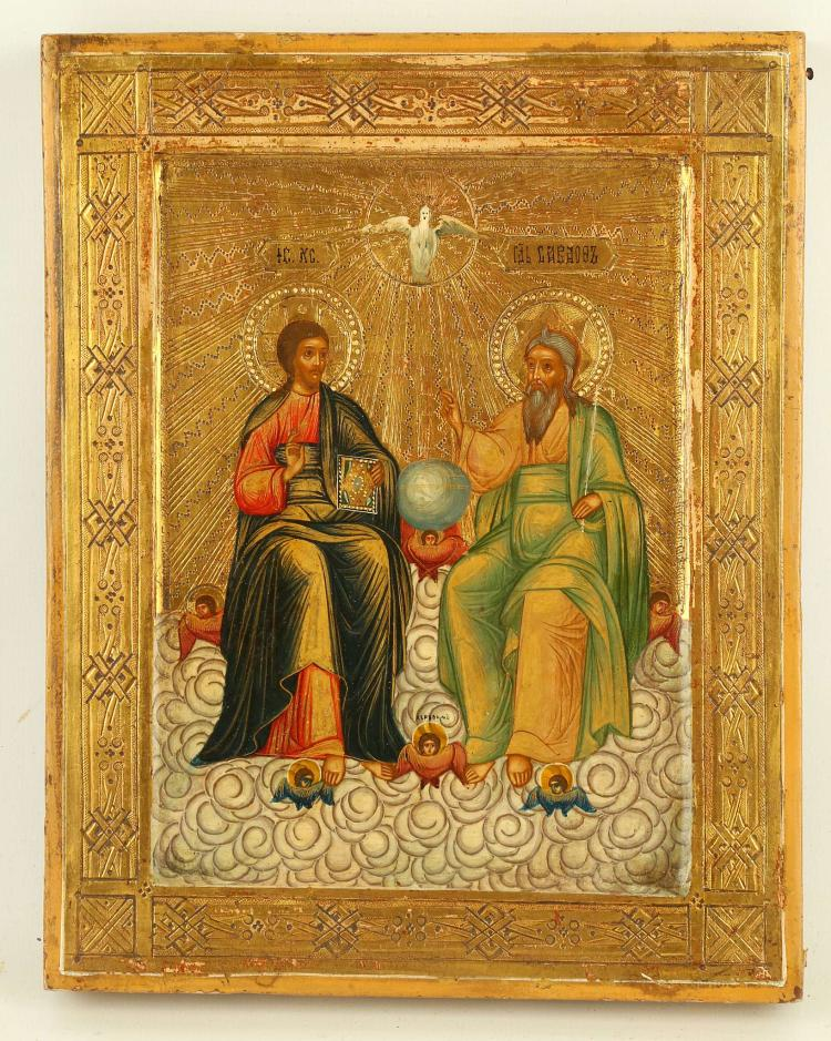 A RUSSIAN ICON: THE NEW TESTAMENT TRINITY, CIRCA 1890. Finely painted on a gold leaf incised field, God the Father, God the Son, and between them the Holy Spirit represented by a dove. 7 x 8.75 inches.