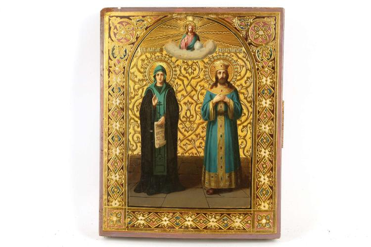 A RUSSIAN ICON: THE HOLY VENERABLE MARY AND SAINT CONSTANTINE, CIRCA 1890. Colourfully painted on an intricately incised field. Christ delivers a blessing at top. Probably a wedding gift to the newlyweds named Mary and Constantine. Excellent condition. 9 x 7.5 inches.