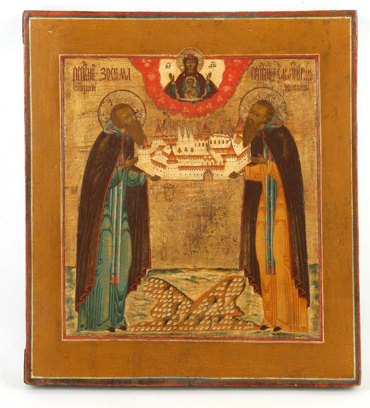 A FINE RUSSIAN ICON: SAINTS ZOSIM AND SAVVATIY, 18TH CENTURY. Considered the founders of the Solovetsky Monastery on the White Sea, here they are depicted holding their monastery. The Sign Mother of God at top centre. A fine old icon in untouched original condition. Exceedingly high quality. 11.25 x 12.5 inches.
