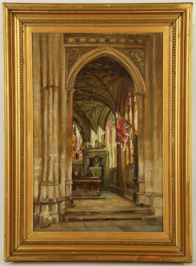EARLY 20TH CENTURY BRITISH SCHOOL. 'Interior Chapel with Flags'. Oil on canvas, indistinctly signed 'Dorothy Gillam [?]' and dated 1913. In a giltwood frame with slip. 45cm x 29cm.
