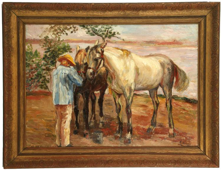 R. WILSON, MID 20TH CENTURY POSSIBLY AMERICAN SCHOOL. 'Feeding Horses'. Oil on canvas scene with two standing horses in dappled light attended by a straw hatted stable hand. Signed lower right and inscribed 'Hammel'. Framed. 45cm x 52cm.