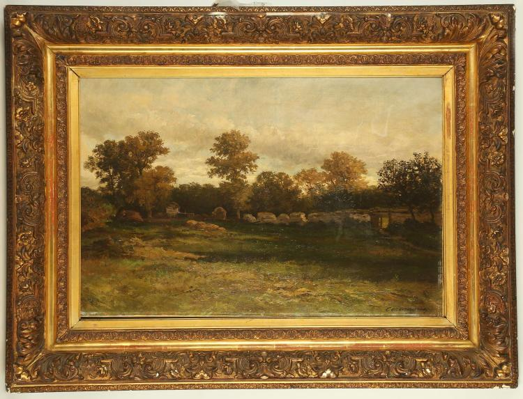 CHARLES FERDINAND CERAMANO 1829-1909. 'Paesaggio in una fattoria'. Oil on canvas, landscape with views to the treeline beyond walled garden ruins. Signed lower right. Re-lined. Framed, 52 x 82cm.