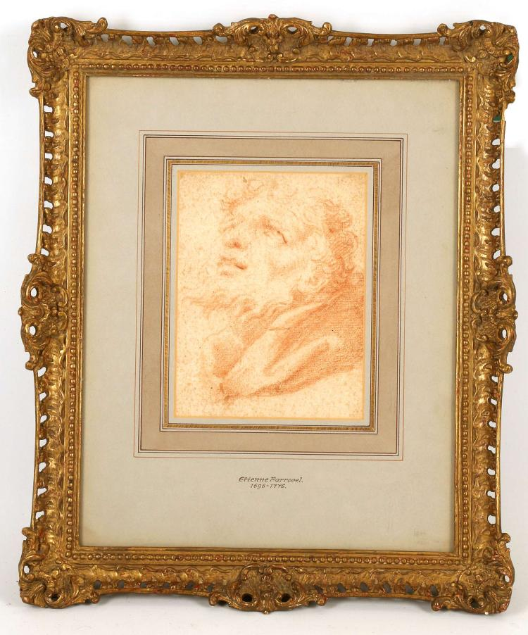 ETIENNE PARROCEL 1696-1775. 'Head of a Saint'. Sanguin portrait on laid paper. Mounted, with nameplate. 17cm x 12.5cm. In a good giltwood frame. Labelled verso for The Parker Gallery, London, and with Christies stencil number.