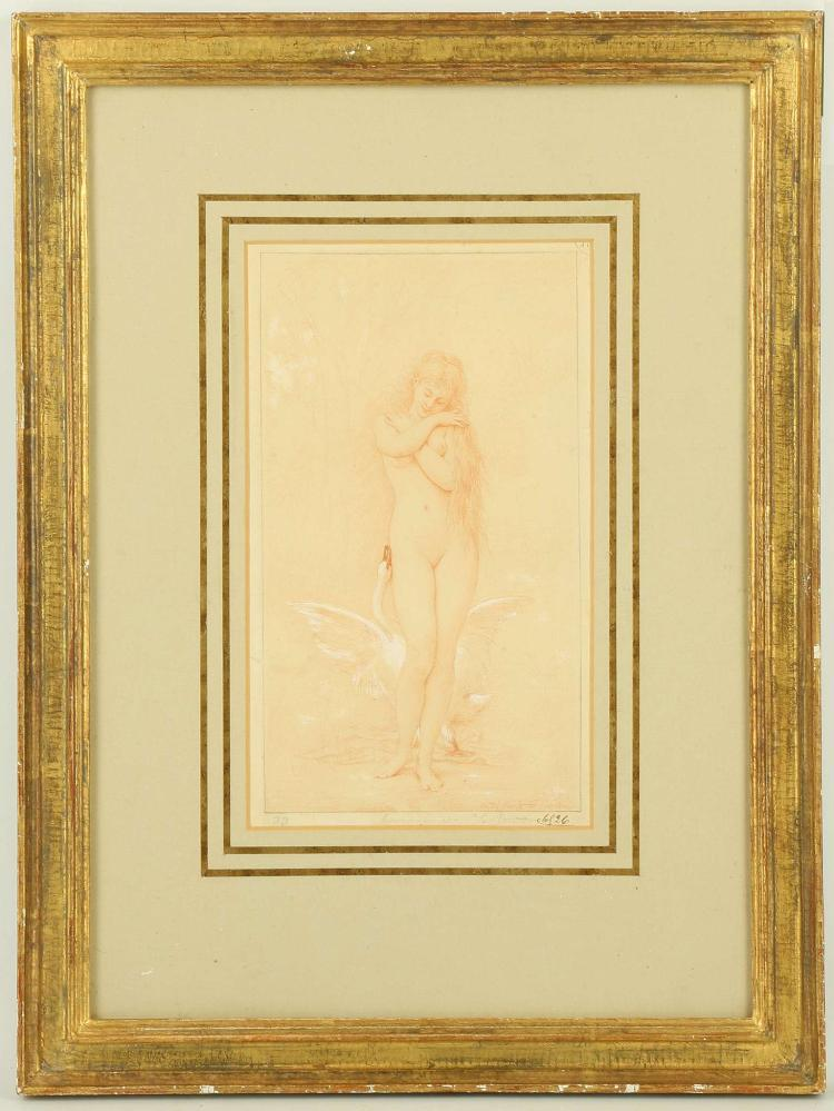 'LEDA AND THE SWAN', dated 1826. Watercolour, with body colour and chalk. Indistinctly signed on the drawing and mount. Further inscribed with collector's number and partial stamp, upper right. Mounted and framed. 24.5cm x 14cm.