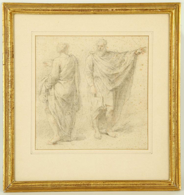 ATTRIBUTED TO PHILIPE DE CHAMPAIGNE 1602-1674. 'Studies of a Standing Draped Man'. Chalk and graphite. Inscribed verso, and with labels for W. Schick and W. Knoll, Zurich. Mounted and framed. 23cm x 23cm.