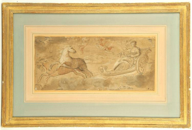 CIRCA 16TH CENTURY, MANNER OF CORNELIUS CORT 1533-1578. 'Goddess in Celestial Chariot'. Panoramic pen and ink, with wash and touches of chalk. Drawn across the clouds by two horses and with attendant Putti, the goddess wearing a crown of leaves and flowers. Monogrammed lower right 'C.C'. Mounted and framed. 17.2cm x 38.5cm.