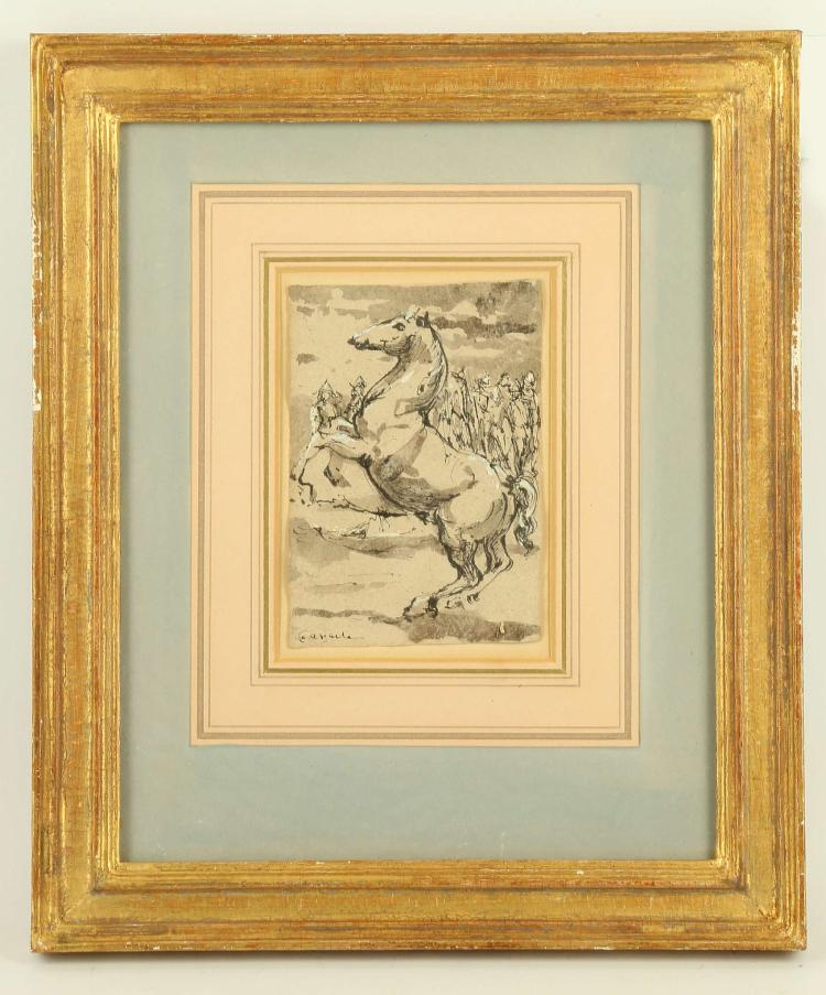 CIRCA 17TH CENTURY ITALIAN SCHOOL. 'The Rearing Horse'. Pen and ink with wash and touches of body colour. A single rearing horse with cavalry figures behind. Indistinctly signed lower left. Mounted and framed. 14cm x 9.5cm.