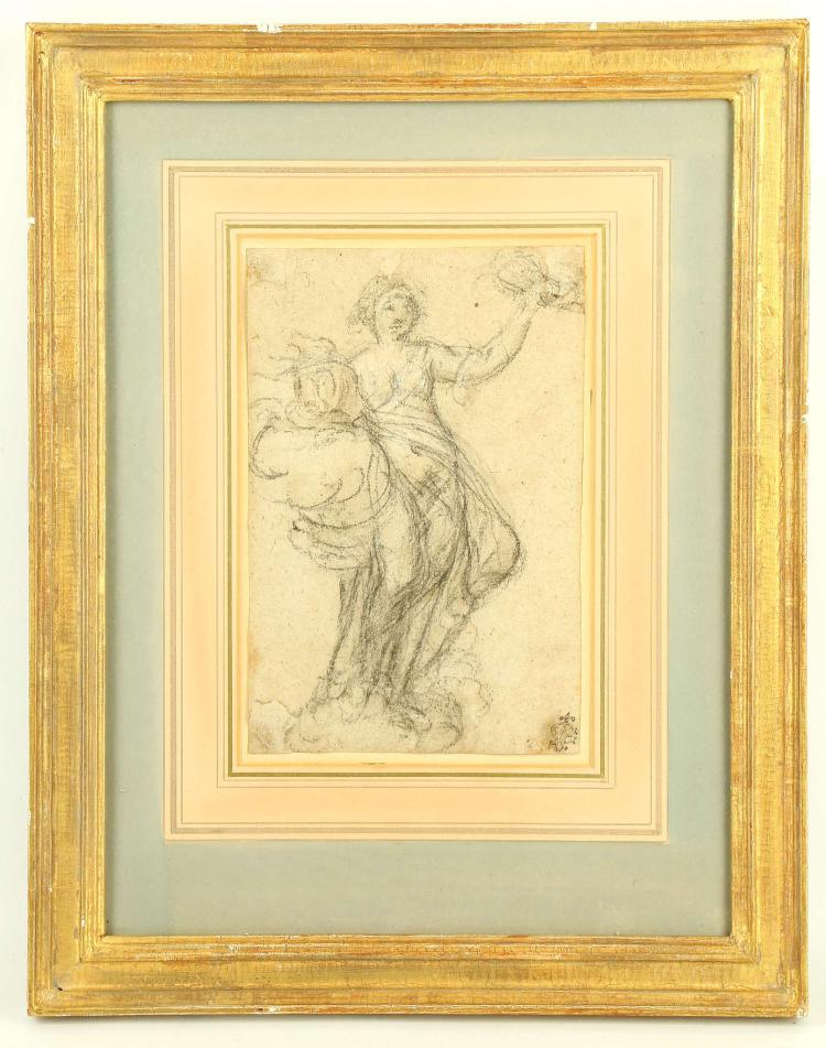 MANNER OF ALESSANDRO CASOLANI 1552-1606. 'Chalk study of a Standing Female'. With collector's monogram 'L.C.' lower right. Mounted and framed. 21.5cm x 14cm.