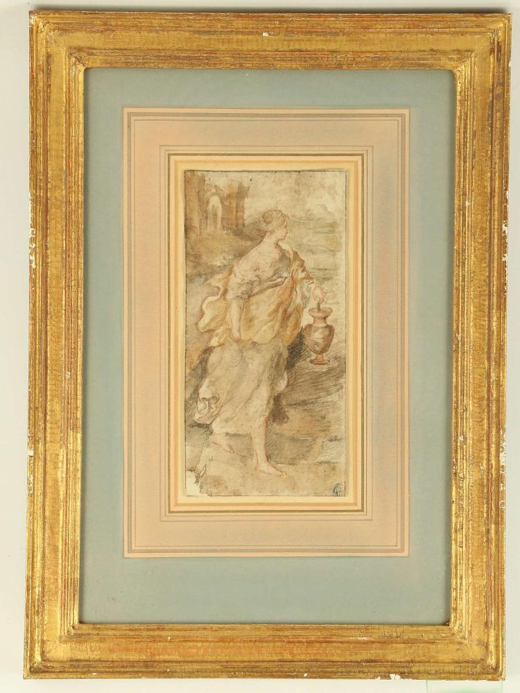 MANNER OF ALESSANDRO CASOLANI 1552-1606. 'Draped Figure Carrying a Ewer'. Watercolour and graphite. With indistinct collector's seal lower right. Mounted and frame, 19.5cm x 10.8cm.