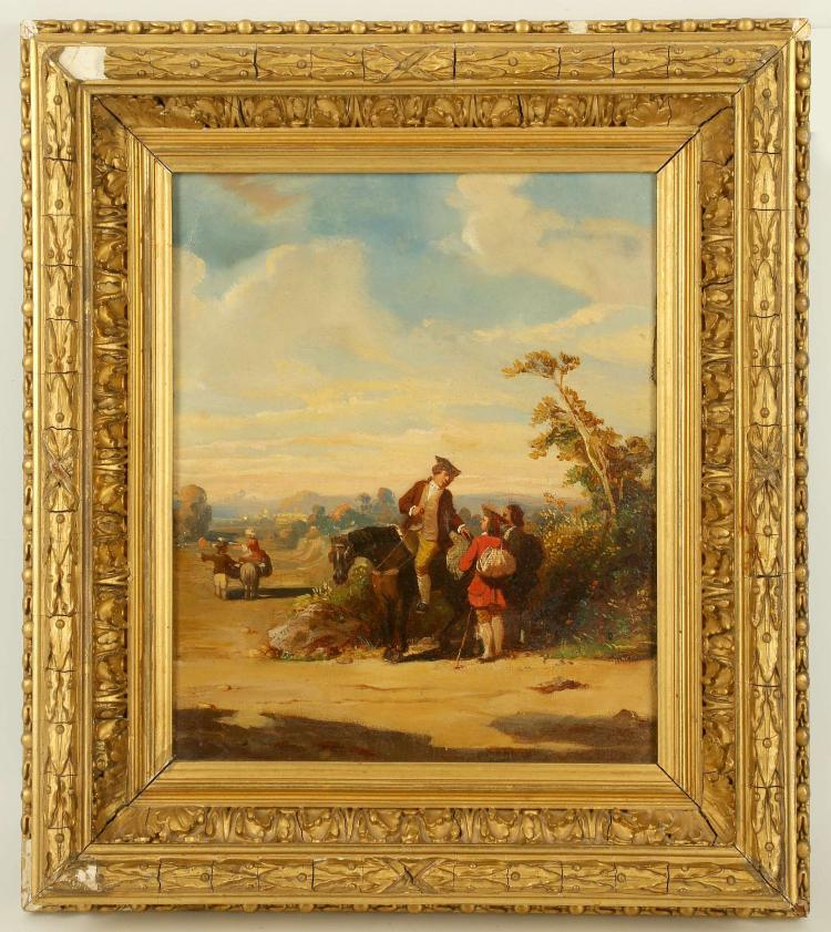 ENGLISH SCHOOL CIRCA 1780/1800. 'Travellers on the Road'. Oil on canvas, in late afternoon light a man on horseback gives directions to two travellers. Unsigned. Re-lined. In a period giltwood frame. 26cm x 21cm.