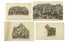 AFTER PIETRO DA CORTONA 'Barberinae aulae Fornix'. Published circa 1677 by Giovanni Giacomo de Rossi, Rome. Engraved by J. deRubeis. Set of ten unmounted engravings depicting Pietro da Cortona's frescoes on the ceiling of Palazzo Barbeni, and the Pitti Palace. 49.5 x 76cm paper size. (10).