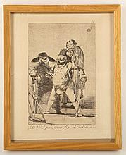 FRANCISCO GOYA 1746-1828. 'Esta Um Pues, Como Digo'. Etching with aquatint, from Los Caprichos. Plate size 21.5cm x 15cm. Framed. In 1803, Goya offered the copper plates and unsold prints from Los Caprichos to Carlos IV having decided to withdraw his work from the scrutiny of the Inquisition.