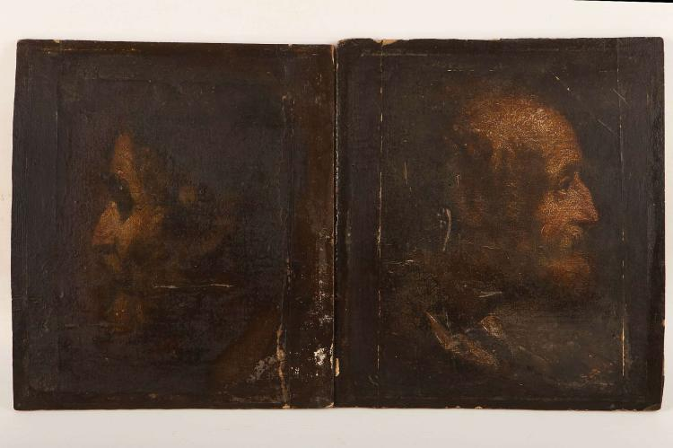 CIRCA 16TH / 17TH CENTURY, POSSIBLY GERMAN SCHOOL. Two male portraits, oil on canvas. Mounted to card and laid to panel. These works may be reductions from a larger work. Unsigned. 26cm x 22cm.