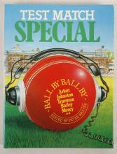 """BAXTER, Peter (b. 1947, editor). Test Match Special. London: Queen Anne Press, 1981. [Number One]. 4to. Half tone illustrations. Original green cloth, spine lettered in gilt, dust-jacket. FIRST EDITION. The RARE first appearance of this publication. It contains two contributions from Henry Blofeld, """"Old Trafford: The Team Goes North"""" and, in collaboration with Don Mosey, """"Home Thoughts from Abroad."""" Other contributors include John Arlott, Christopher Martin-Jenkins, Brian Johnston and Fred Trueman. The text on the front turn-in accounts for the abiding popularity of Radio 3's """"Test Match Special"""": """"… The team's mixture of lyrical description, dry wit, shrewd appraisal and cheerful bonhomie is reflected in the book, which uses the 1980 season (the West Indies tour and the Centenary Test match) as a framework for reminiscence on past disasters, drinks in the box, listeners' letters, broadcasting overseas – and, of course, the inevitable 'Rain Stops Play'."""" With 3 other books produced by the BBC Test Match Special Team, namely, The Ashes. Highlights since 1948 (London, 1989), England v. West Indies. Highlights since 1948 (London, 1991) and Peter Baxter's Can Anyone Hear Me? Testing Times with Test Match Special on Tour (London, 2013, paperback)."""