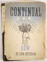 """BETJEMAN, John (1906-84). Continual Dew. A Little Book of Bourgeois Verse. London: John Murray, 1937. 8vo. Half title, illustrations by Hubert de Cronin Hastings and Osbert Lancaster, decorations to the poem """"Exeter"""" by Gabriel Pippet, printed on pale blue paper, except for the poem """"Exeter"""" which is printed in red and black on white paper, initials. Original dark brown cloth with gilt lettering and decorations by Osbert Lancaster, gilt edges, dust-jacket with a design by E. McKnight Kauffer printed in blue and black (jacket rather worn with half of the backstrip lacking). Provenance: Bernard B. Humphreys, September 1940 (signature on front free endpaper). FIRST EDITION of the poet's third published work, and the first appearances in print of """"The Arrest of Oscar Wilde at the Cadogan Hotel"""" and """"Slough"""". It also includes 15 poems which had previously been published in Mount Zion (1931). With 15 other books by John Betjeman including Old Lights for New Chancels (London, 1940, without jacket, FIRST EDITION), New Bats in Old Belfries (London, 1945, dust-jacket, FIRST EDITION) and Poems in the Porch (London, 1954, reprint, illustrations by John Piper). (16)"""