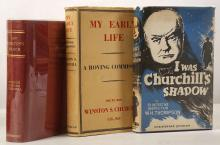 CHURCHILL, Winston Spencer (1974-1965). A History of the English-Speaking Peoples. London: Cassell, 1956-58. 4 volumes, large 8vo. Half titles, maps. Original red cloth gilt, dust-jackets (dust-jackets with some chipping). FIRST ENGLISH EDITION. Woods A138a. With another set of the same work (inscribed by a class [?]to a departing master at Stowe School in 1956), the same author's My Early Life. A Roving Commission (London, 1943, dust-jacket, wartime reprint with publisher's printed slip, referring to Churchill as 'Peter Patrice', pasted at the front), Neville Thompson's The Transvaal in War and Peace (London, 1900, cloth) and W. H. Thompson's I Was Churchill's Shadow (London, 1951, dust-jacket, FIRST EDITION). (11)