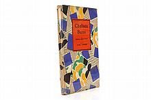 """[COWARD, Noel (1899-1973)]. Chelsea Buns. By Hernia Whittlebot. Edited by Noel Coward. With an Introduction by Gaspard Pustontin. London: Hutchinson & Co., [1924]. 8vo. Half title, half tone frontispiece portrait, in modernist style, by G. E. Calthrop (some very light spotting and staining). Original coloured decorated boards [?by G. E. Calthrop] with orange label lettered in black mounted on the upper cover (corners rubbed, without a jacket [?as issued]). Provenance: ANTHONY HOBSON (bookplate); photograph of Noel Coward loosely-inserted. FIRST EDITION of this amusing pastiche of Edith Sitwell. """"Nothing is spared the flail of her titulative satire. The carcaphanous charm of Harlequin and Columbine evaporates like withered potpourri before the oncoming hurricane of her merciless pen"""" (from Noel Coward's """"Foreword""""). Several variant forms of the binding are recorded, this being one of the more unusual. (See the following lot and lot 98 for further Sitwell pastiches.)"""
