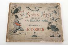"""[DOUGLAS, Lord Alfred """"Bosie"""" (1870-1945)]. Tails with a Twist. The Verses by """"Belgian Hare."""" London: Edward Arnold, [1898]. Oblong 4to. 20 partly-coloured plates by Edward Tennyson Reed (some spotting and staining, mainly to the margins). Original cloth-backed coloured pictorial paper boards, green floral endpapers (inner hinges weak, extremities heavily rubbed, some staining and scuffing). Provenance: Eric Walter Dale (old signature on title). FIRST EDITION of this collection of comic verse reminiscent of Hilaire Belloc (the author was accused of plagiarising him). """"Bosie"""" first met Oscar Wilde in 1891, whereupon they began an affair. Oscar Wilde was brought to trial for """"gross indecency"""" in 1895 and sentenced to two years' hard labour. These events were bound to be in Bosie's mind when he was penning these comic verses shortly after the trial: note especially 'The Rabbit', on pp. 6-7, which is illustrated with a picture of a rabbit in a dock, with two policemen standing on either side, and captioned """"His life is a complete disgrace!"""". RARE."""