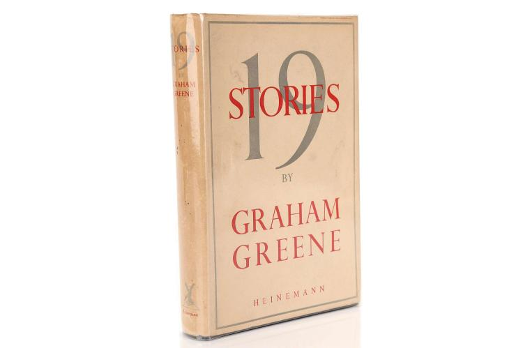 "GREENE, Graham (1904-92).  Nineteen Stories. London: William Heinemann, 1947. 8vo. Half title (lightly browned, as usual). Original dark blue cloth, spine lettered in silver, dust-jacket with price of 8s6d unclipped (some very light staining). Provenance: illegible signature on front free endpaper. FIRST EDITION. ""The short story is an exacting form which I have never properly practised: I present these tales merely as the by-products of a novelist's career"" (from the ""Author's Note""). Wobbe A20a"