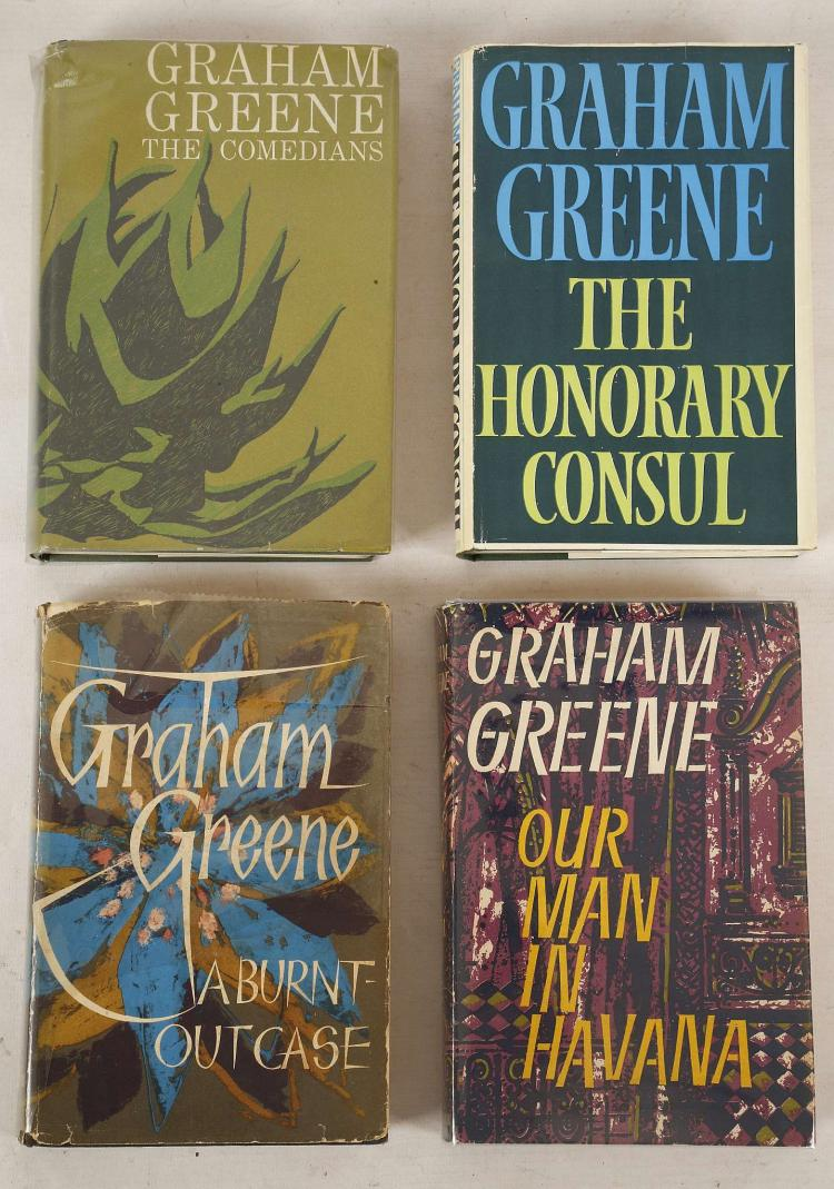 GREENE, Graham (1904-92).  Our Man in Havana. An Entertainment. London: William Heinemann, 1958. 8vo. Half title. Original blue cloth, spine lettered in gilt, dust-jacket designed by Donald Green (price-clipped, some minor chipping). FIRST EDITION. Brennan 35; Miller 37a; Wobbe A38a. With 5 other books by Graham Greene including The Comedians (London, 1966) and Travels with my Aunt (London, 1969), both FIRST EDITIONS in dust-jackets.