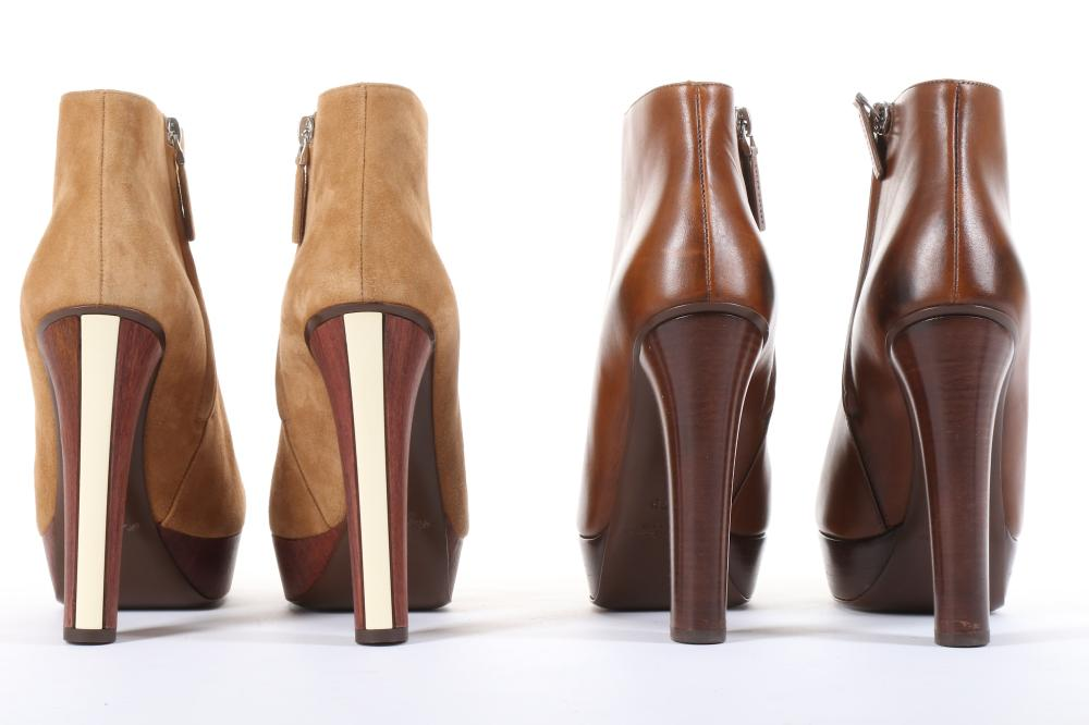025e98f5f Two Pairs of Ralph Lauren Ankle Boots, one in tan suede with wooden ...