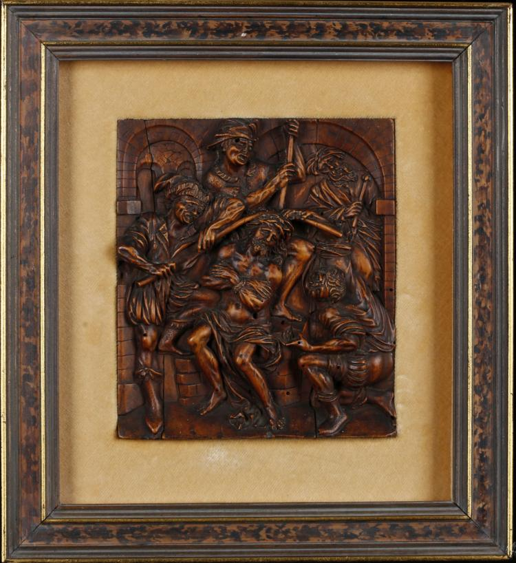 A th century german boxwood relief carved panel depicting