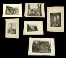 AFTER LUIGI ROSSINI (1790-1857). A set of 6 engravings of Rome with full margins, unmounted, in sleeves. Published Rome 1822. Each: 38cm x 56cm (6).