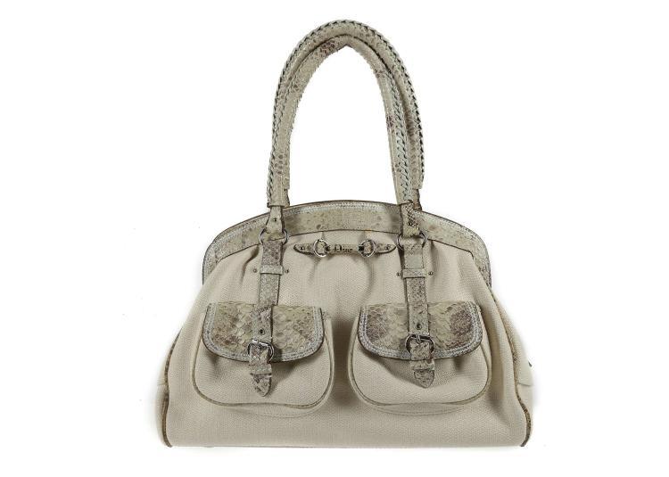 Lot 570  Christian Dior Sac a main Python, cream canvas body with python  skin 5b23b9e47c1