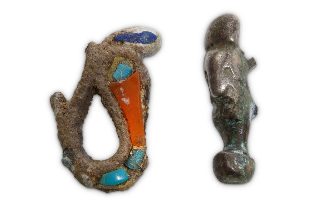 TWO EGYPTIAN SILVER AMULETS
