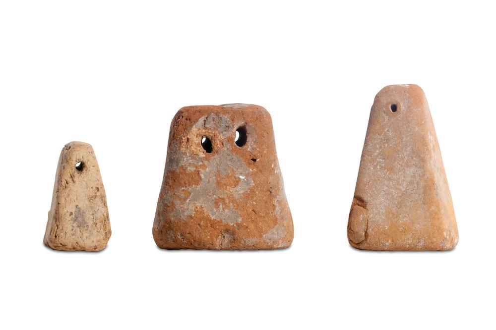 THREE LARGE ROMANO-EGYPTIAN TERRACOTTA WEIGHTS