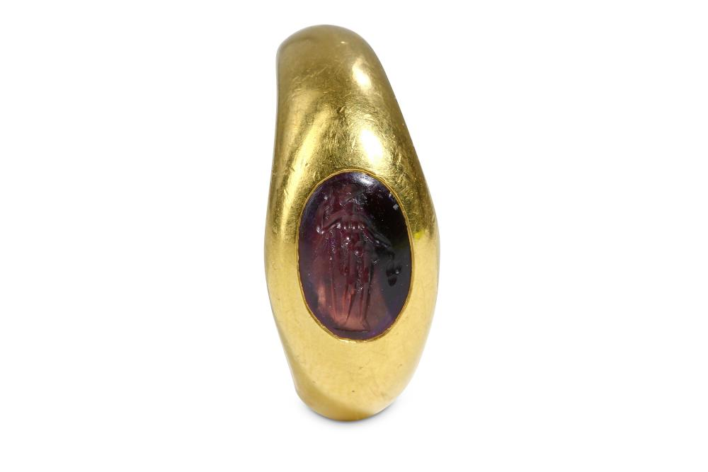 A RING WITH ROMAN INTAGLIO