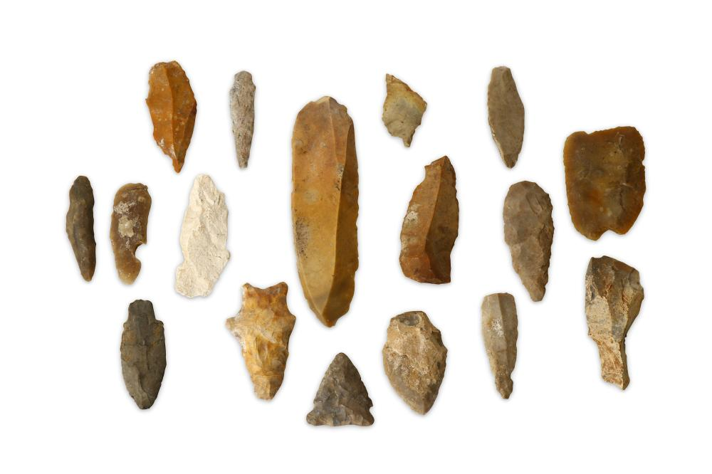 A GROUP OF FLINT ARROWS AND SPEAR HEADS