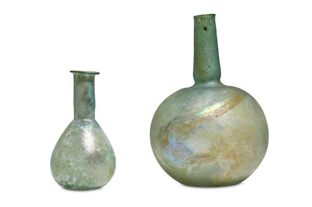 TWO ROMAN GREEN GLASS VESSELS