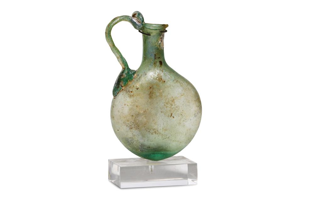 A ROMAN HANDLED FLASK