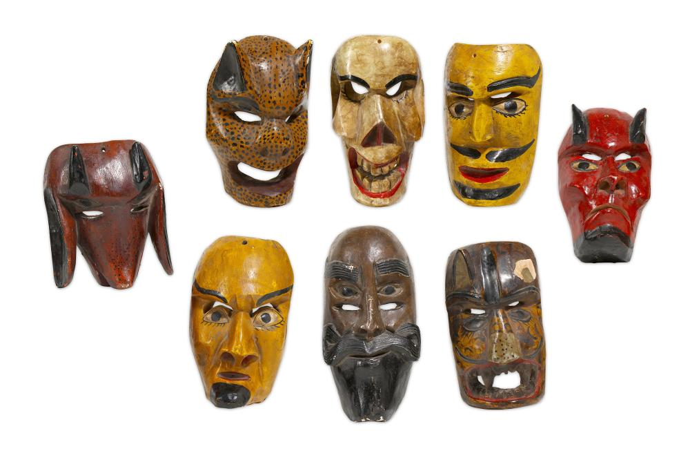 A GROUP OF MEXICAN PAINTED WOOD MASKS