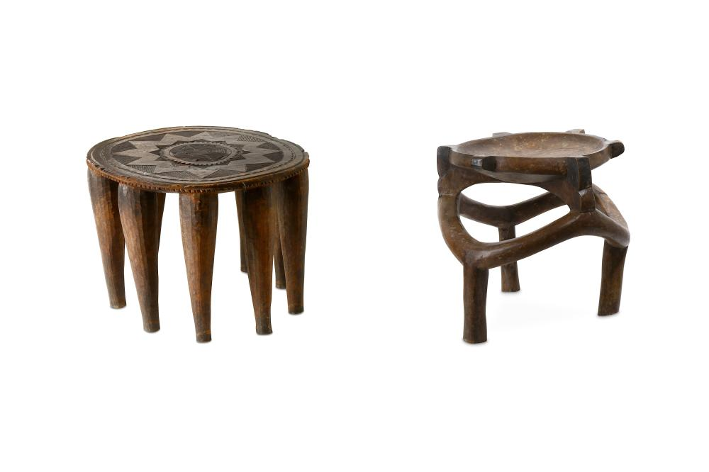 TWO AFRICAN WOOD STOOLS