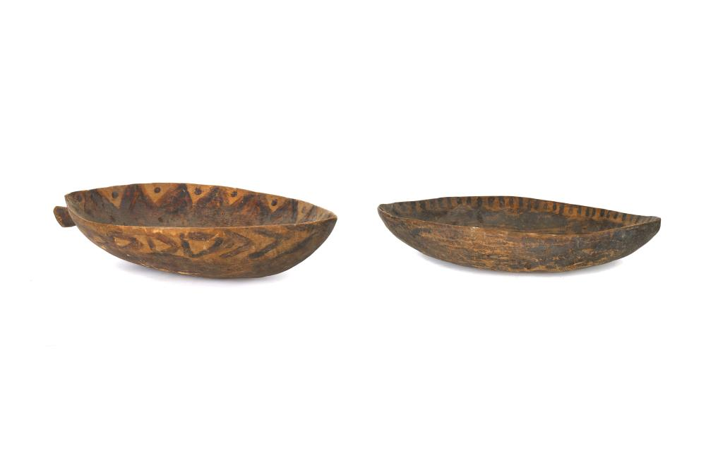 TWO CEREMONIAL WOOD BOWLS, PAPUA NEW GUINEA
