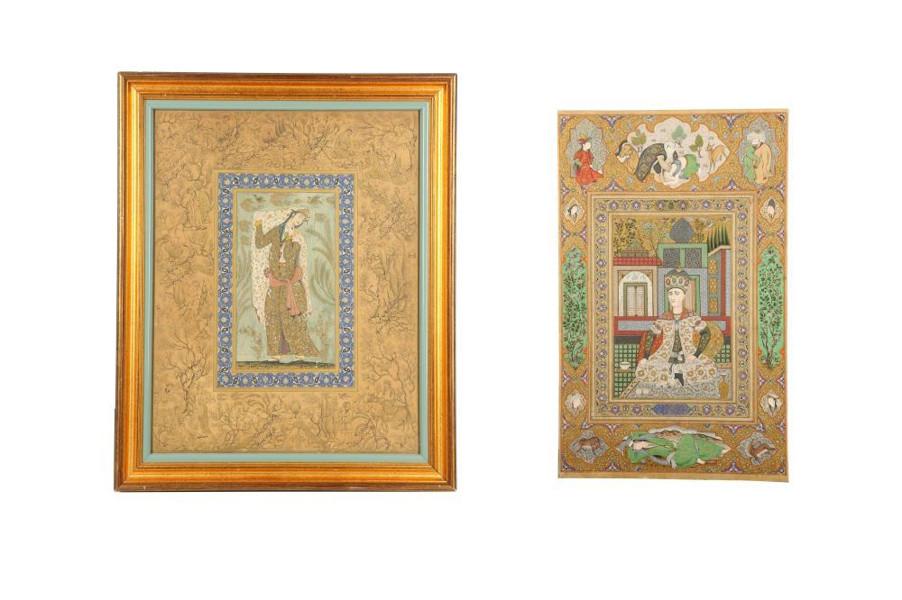 TWO ARCHAISTIC SAFAVID-REVIVAL PORTRAITS