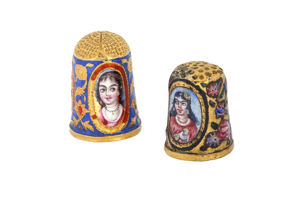 TWO POLYCHROME-PAINTED ENAMELLED GOLD THIMBLES