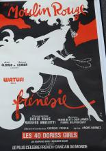 Bal Du Moulin Rouge Watusi Dans Frenesie, by Rene Gruau coloured poster, linen backed, 120 x 80cm, unframed.
