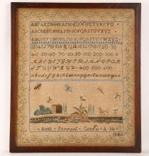 An 18th Century sampler worked by Mary Peterson, January 1770, aged 9, size: 22cm X 22cm, sold with a mid 19th Century example worked by Anna Forrest, Corfu, 1846, size: 46cm x 39cm.