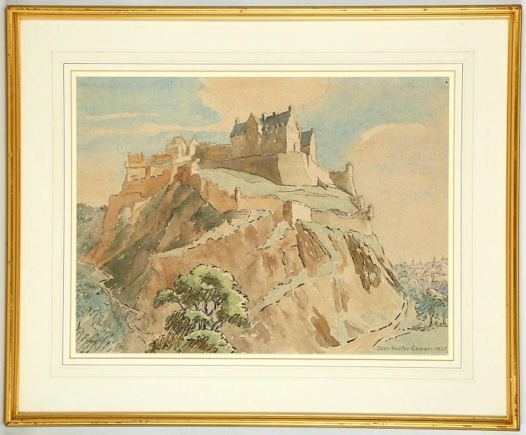 Jean Hunter Cowan (Scottish, 1882-1967), 'Edinburgh Castle', watercolour, signed and dated 1940, 36 x 47.5cm, mounted and framed   FOOTNOTES: This work is being sold on behalf of Cancer Research UK