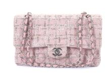 Chanel Medium Pink Tweed Classic 2.55 Flap Handbag, c. 2005-06, pink quilted tweed with pale pink lambskin lining and trim, silver tone hardware, 26cm wide, 15cm high  Authenticity card and dust bag   Condition Grade B- Please refer to department for condition report